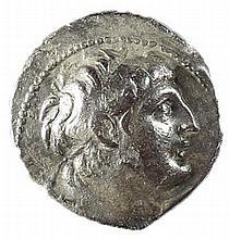 ANTIOCHUS VII, 138 – 129 BCE Silver tetradrachm, 13.3 gr. Mint of Tyre. Obverse: Head of Antioc