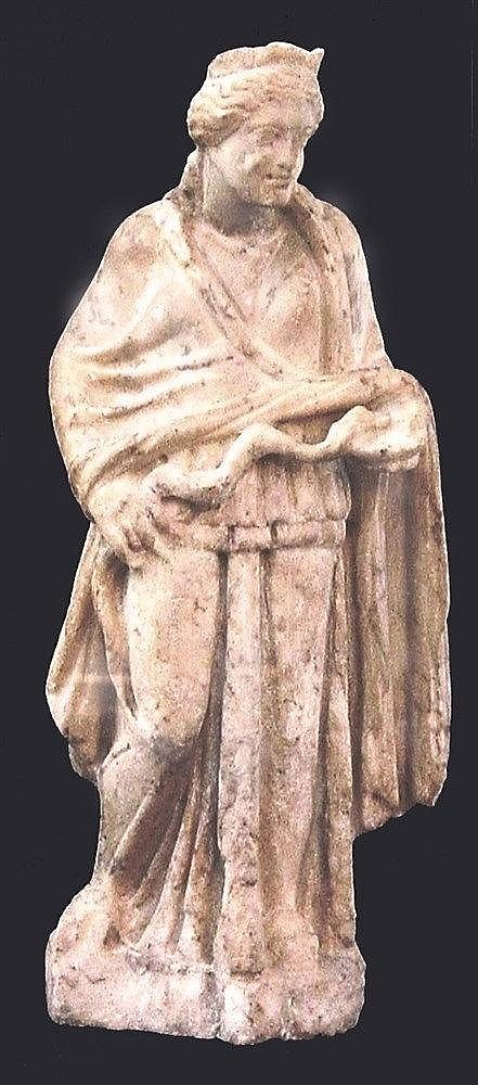 ROMAN MARBLE FIGURE OF HYGEIA THE GODDESS OF HEALTH 2nd century CE. The standing goddess is wearing