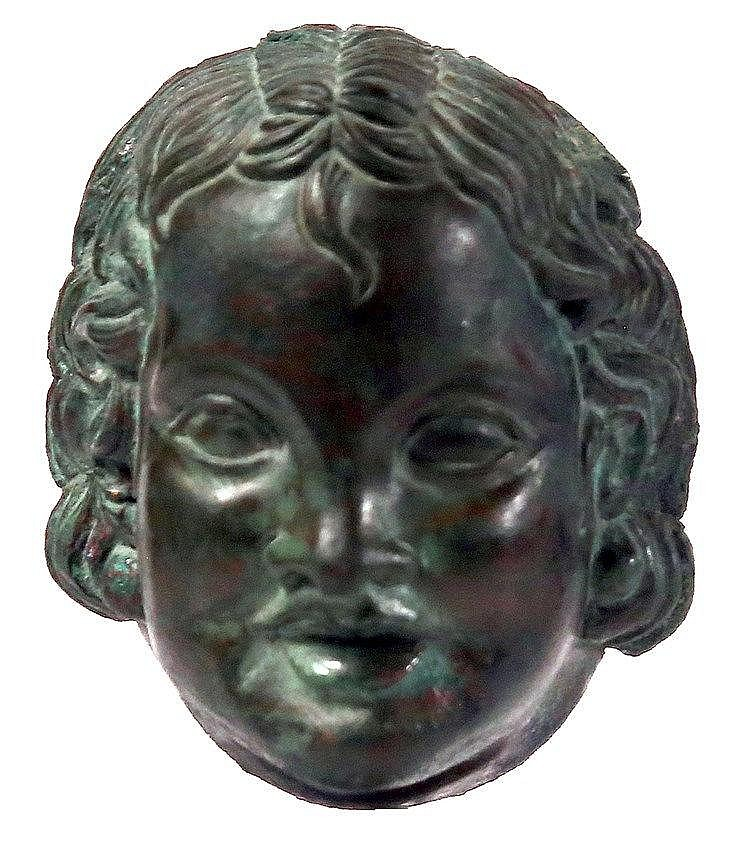 AN EARLY ROMAN PERIOD BRONZE HEAD OF A YOUTH OF AN OUTSTANDING HIGH ARTISTIC QUALITY 1st-2