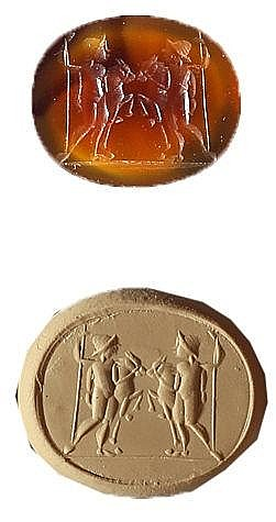 A ROMAN BROWN CARNELIAN GEM DEPICTING POLUX AND CASTOR, EACH WITH HIS HORSE  2nd-3rd centu