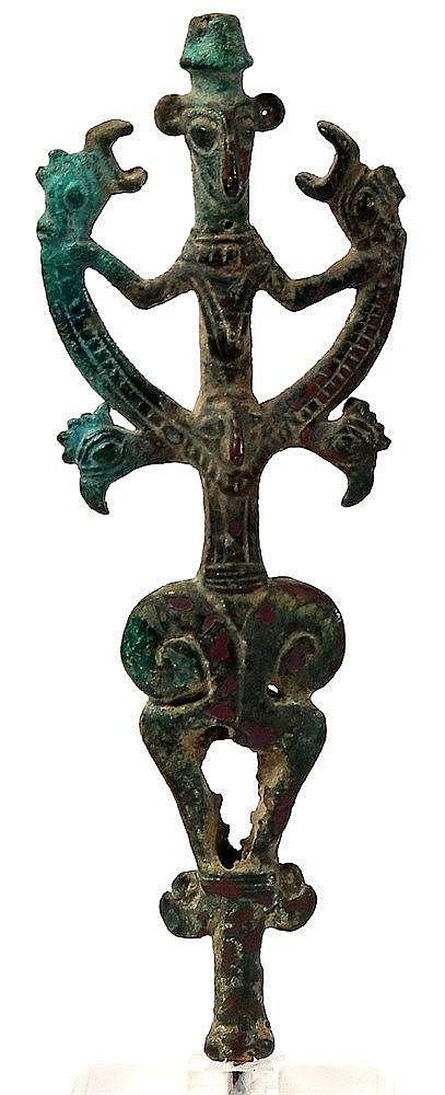 "CAST BRONZE FINIAL ""MASTER OF THE ANIMALS"" Luristan, 8th century BCE. With very nice green"