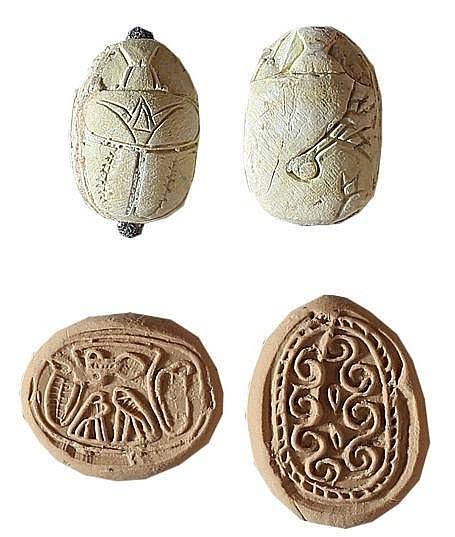 A LOT OF TWO A CANAANITE SCARABS Middle Bronze Age, 1730 – 1550 BCE. In very good condition. Ex