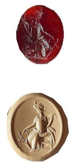 A ROMAN RED CARNELIAN GEM DEPICTING A SEATED GODDESS HOLDING RUDDER AND CORNUCOPIA 2nd-3rd cent