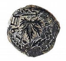 FIRST REVOLT AGAINST ROME, 66 – 73 CE Bronze prutah, 18 mm. Year two. Vine leaf / Amphora. Pale