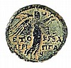 AGRIPPA II, 50 – 100 CE Bronze 25.5 mm. Obverse: Bust of Titus to r. Reverse: Nike standing to