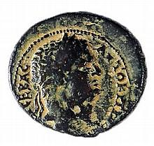 AGRIPPA II, 50 – 100 CE Bronze 27 mm. Obverse: Bust of Titus to r. Reverse: Nike standing to r.