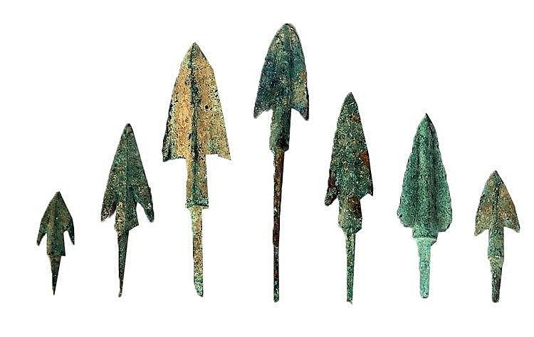 A LOT OF 7 BRONZE ARROW HEADS  2nd-1st millennium BCE. With very nice patina and in very good condit