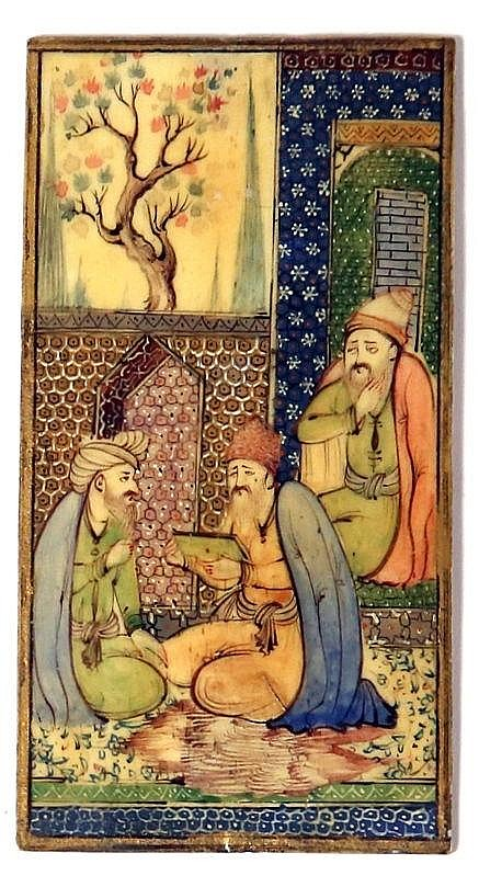 A PERSIAN MINIATURIC PAINTING ON IVORY Before 1946. Depicting 3 wise men. In very good con