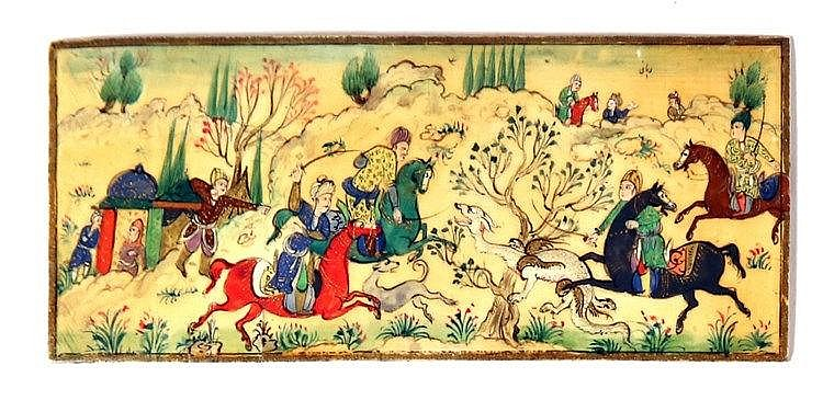 A PERSIAN MINIATURIC PAINTING ON IVORY Before 1946. Depicting a hunting scene. In very goo