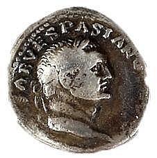 JUDAEA - VESPASIANUS, 69 – 79 CE Silver denarius, 3.1 gr. Obverse: Bust of Vespasianus to r. R