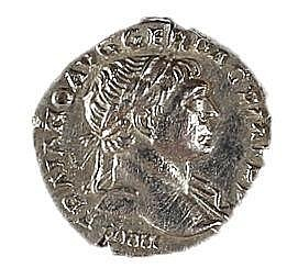 TRAJAN, 98 – 117 CE Silver denarius, 3.3 gr. Obverse: Bust of Trajan to r. Reverse: Goddess sta