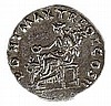 TRAJAN, 98 – 117 CE Silver denarius, 3.3 gr. Obverse: Bust of Trajan to r. Reverse: Goddess sea