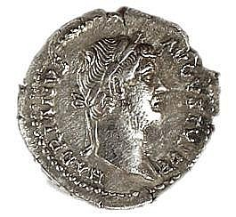 HADRIAN 117 – 138 CE Silver denarius, 3.4 gr. Obverse: Bust of Hadrian to r. Reverse: Victory s