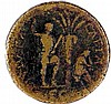 VESPASIANUS, 69 – 79 CE JUDAEA CAPTA Bronze sestertius 35 mm. Obverse: Bust of Vespasianus