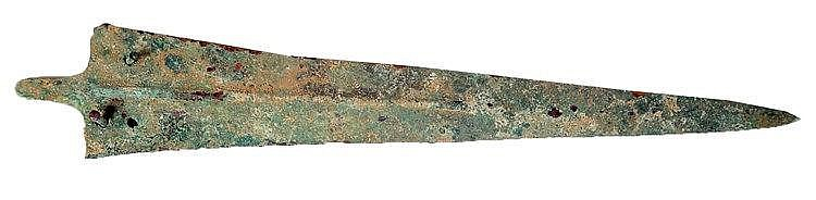 A LURISTAN BRONZE SWORD BLADE Early 1st millennium BCE. With very nice patina and in very good