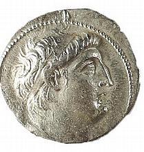 ANTIOCHUS VII, 138 – 129 BCE Silver tetradrachm, 13.0 gr. Mint of Tyre. Obverse: Head of Antioc