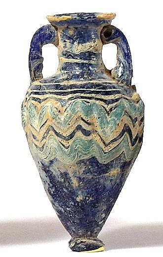A CORE-FORMED GLASS AMPHORISKOS  6th-5th century BCE. Of cobalt blue color with yellow and blue-mari