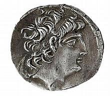 ANTIOCHUS VIII, 121 – 96 BCE Silver tetradrachm 16.5 gr. Obverse: Head of Antiochus to r. Rever
