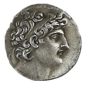 ANTIOCHUS VIII, 121 – 96 BCE Silver tetradrachm 16.5 gr. Obverse: Head of Antiochus to r. Rever
