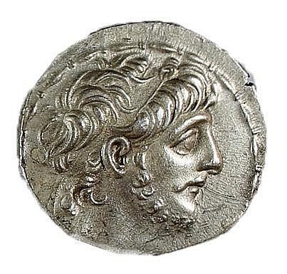 ANTIOCHUS IX, 114 - 95 BCE Silver tetradrachm, 16.3 gr. Obverse: Head of Antiochus to r. Revers