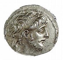 ANTIOCHUS IX, 114 - 95 BCE Silver tetradrachm, 16.3 gr. Obverse: Head of Antiochus to r. Revers