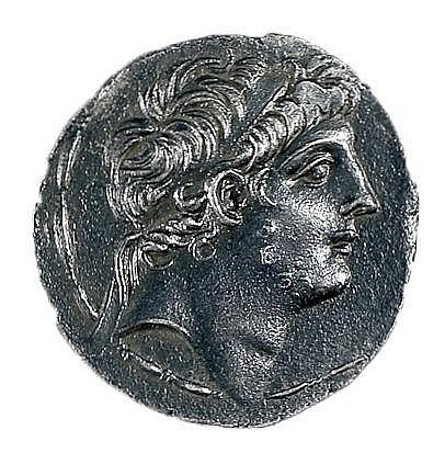 ANTIOCHUS IX, 114 - 95 BCE Silver tetradrachm, 16.5 gr. Obverse: Head of Antiochus to r. Revers