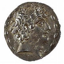 PHILIP PHILADELPHOS, AFTER 64 BCE Silver tetradrachm, 15.9 gr. Obverse: Head of Philip to r. Re