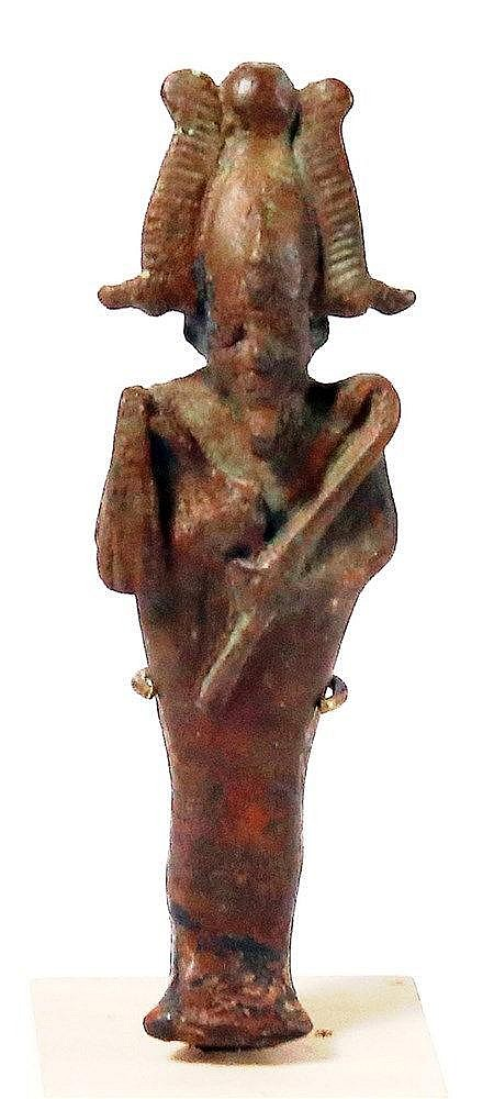 AN EGYPTIAN BRONZE STATUETTE OF OSIRIS THE GOD OF THE UNDERWORLD 1st millennium BCE. With nice