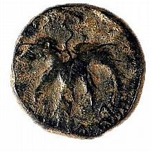 SHIMON BAR-KOKHBA, 132 – 135 CE Medium bronze 23 mm, undated. Obverse: Vine leaf. Paleo-Hebrew