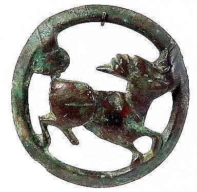 A BRONZE BUCKLE 3rd-7th century CE. Depicting an animal looking backwards. With nice brown patina. I