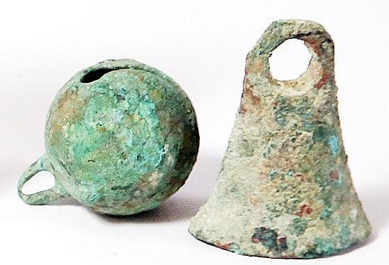 2 BRONZE BELLS Roman-Byzantine Period, 2nd-7th century CE. 6.1 & 5.1 cm high. In good condition