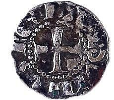 CRUSADER KINGDOM OF JERUSALEM Baldwin III, 1143 – 1163 CE. Silver Billon, 0.8 gr. Obverse: Cros
