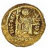 FOCAS, 602 – 610 CE Gold Solidus, 4.5 gr. Obverse: Bust of Focas facing. Reverse: Angel standin