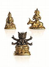 A COLLECTION OF THREE MINIATURE GILT-BRONZE FIGURES