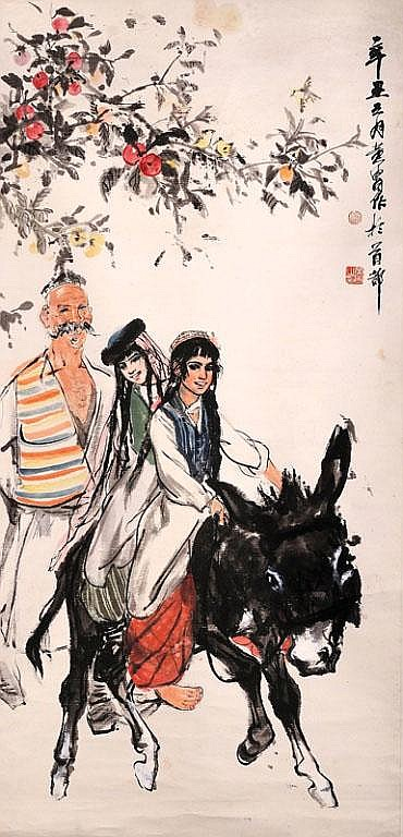 Two Girls Riding a Donkey with an Old Man in the Background