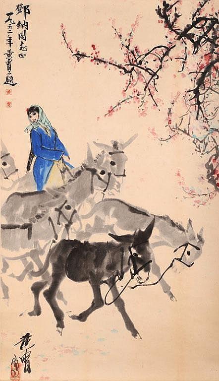 Young Girl Herding Donkeys