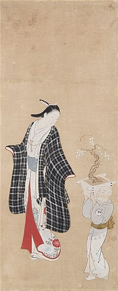 OKUMURA MASANOBU (1686-1764) YOUNG LADY AND A BOY WITH BONSAI