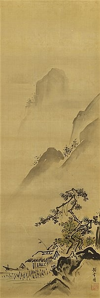 KANO TANSETSU (1654-1713) MOUNTAIN LANDSCAPE WITH A HUT