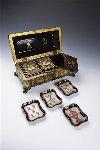 AN EXPORT LACQUER GAMES BOX
