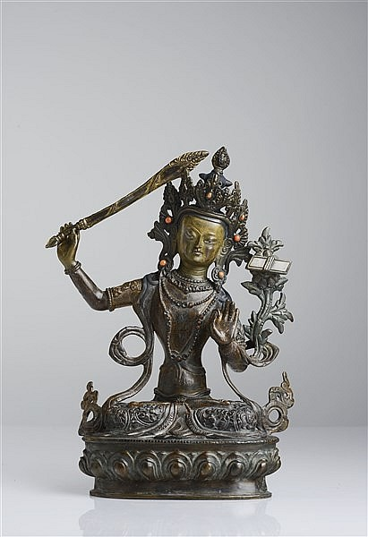 A POLYCHROMED BRONZE FIGURE OF MANJUSHRI