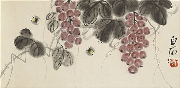 QI BAISHI (1864-1957) WINE GRAPES AND TWO BEES