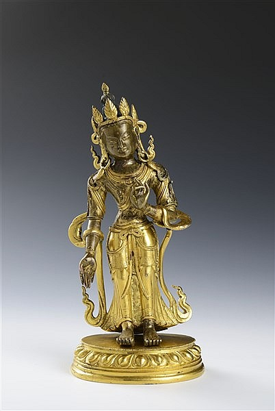 A FINE PARCEL-GILT BRONZE FIGURE OF WHITE TARA