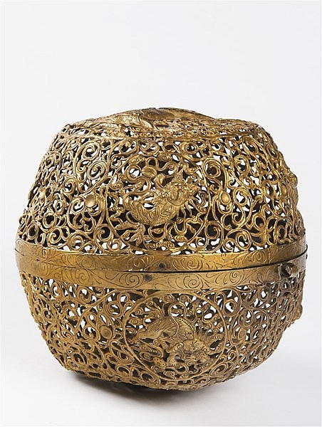 A PIERCED GILT BRONZE CENSER