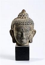 AN EARTHENWARE HEAD OF BUDDHA