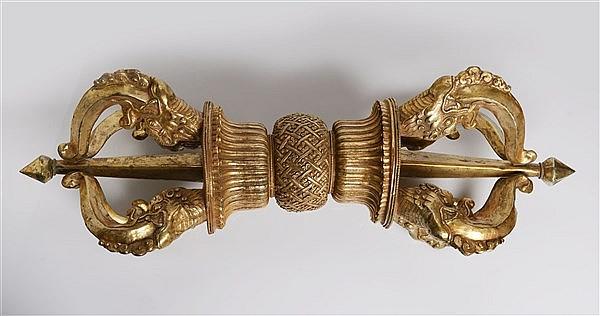 A MONUMENTAL GILT REPOUSSÉ COPPER VAJRA