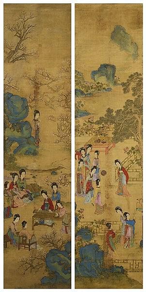 QIU YING (1493-1560) - AFTER BEAUTIES IN A GARDEN