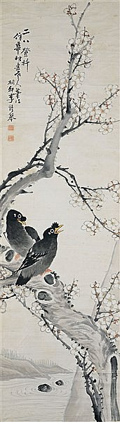 LI ZHONGQIN (1828-1904) TWO STARLINGS ON A PLUM TREE
