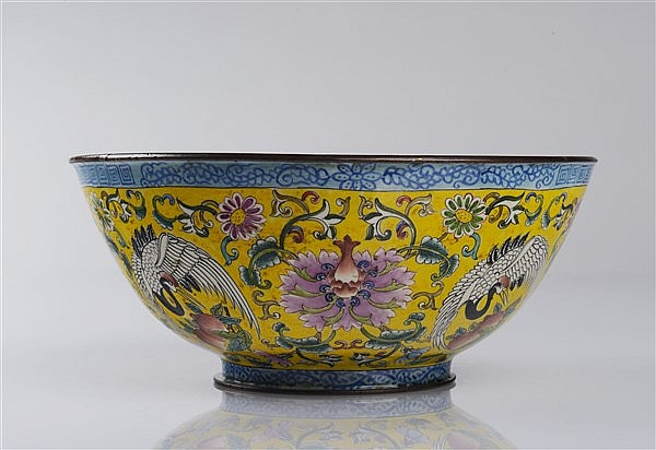 AN ENAMEL YELLOW-GROUND BOWL