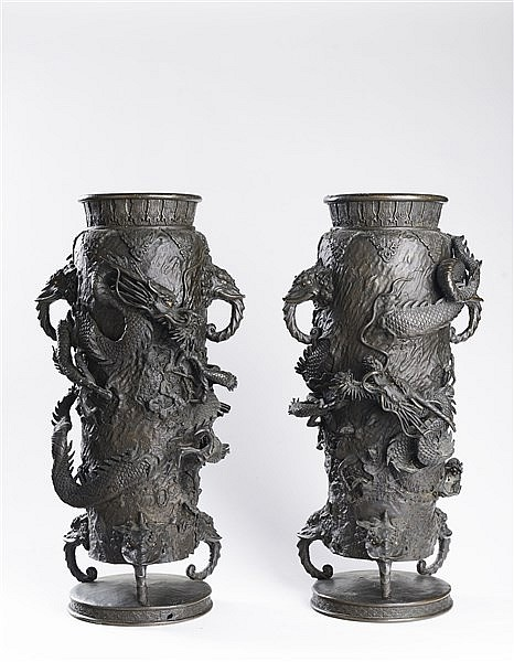 A PAIR OF BRONZE 'DRAGON' VASES
