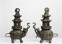 A PAIR OF BRONZE ELEPHANT-FORM CENSERS